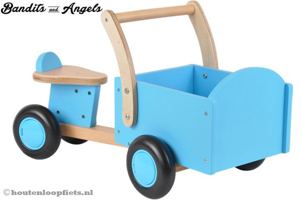 Houten bakfiets little rider blue