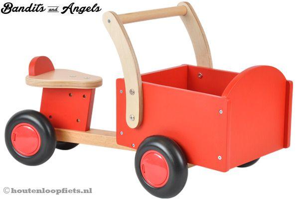 Houten bakfiets little rider red