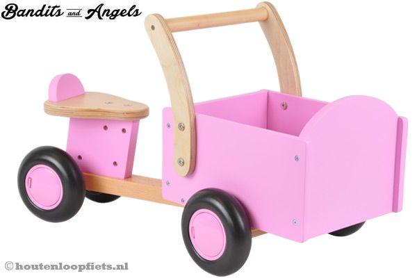 Houten bakfiets little rider pink