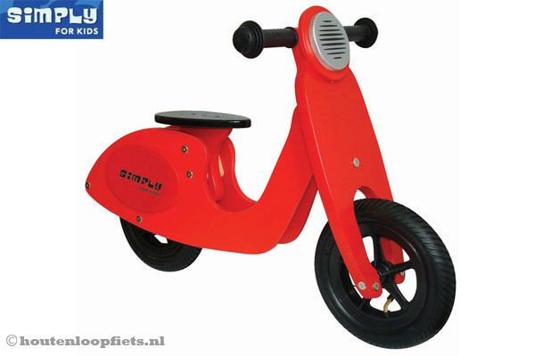 Houten scooter rood