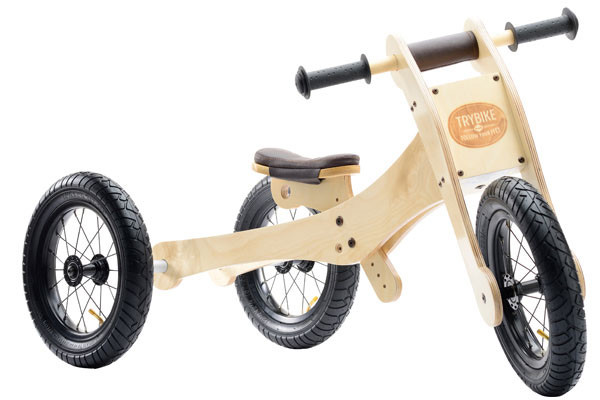 Trybike houten loopfiets 4 in 1 wood brown.