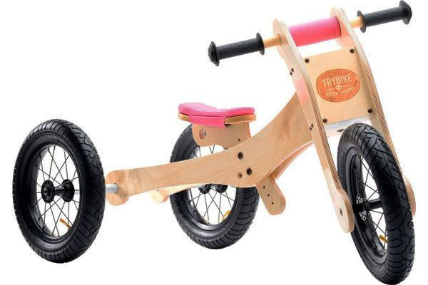 Trybike houten loopfiets 4 in 1 wood pink.